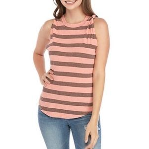 Free People twisted stripe tank in coral